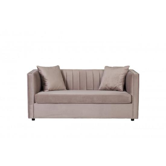 Велюровый двухместный раскладной диван Paolo Бежевый 182*90*78см,2 подушки Bel16  в интернет-магазине ROSESTAR фото