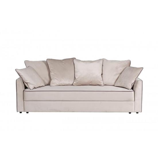 Велюровый трёхместный раскладной диван Mores(K) Бежевый 226*103*94 Bel09 в интернет-магазине ROSESTAR фото