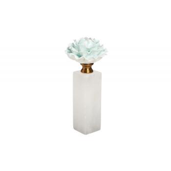 Декор Голубая хризантема на мраморной подставке d10*24см 55RD3944M