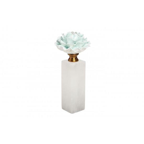 Декор Голубая хризантема на мраморной подставке d10*24см 55RD3944M в интернет-магазине ROSESTAR фото