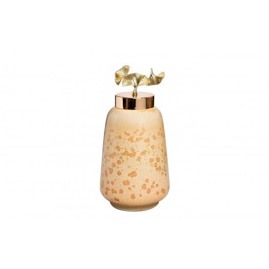Керамическая ваза с крышкой Гинкго d19*37см 55RD4045L в интернет-магазине ROSESTAR фото