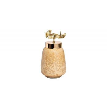 Керамическая ваза с крышкой Гинкго d16*30см 55RD4045S