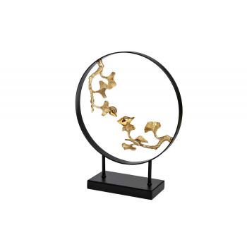 Декор Листья с 2 золотыми птичками 32*40см 55RD3986
