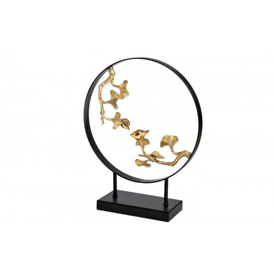 Декор Листья с 2 золотыми птичками 32*40см 55RD3986  в интернет-магазине ROSESTAR фото