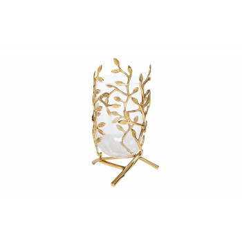 Стеклянная ваза с декором Золотые ветви d19*30см 55RV3563S