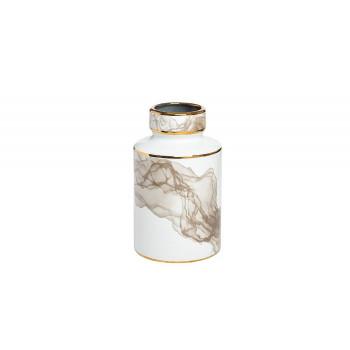 Керамическая ваза белая, декор серый с золотом d14*25см 55RV3968S