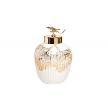 Керамическая ваза белая Золотая стрекоза d19*30см 55RD4232S