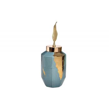 Керамическая ваза синяя с золотым декором d16*32см 55RD4042S