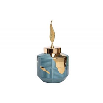 Керамическая ваза синяя с золотым декором d18*36см 55RD4042M