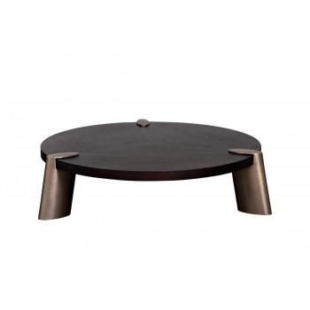 Низкий журнальный столик на металлических ножках с деревянной столешницей d138*33см, столешница d120см 58DB-CT17191