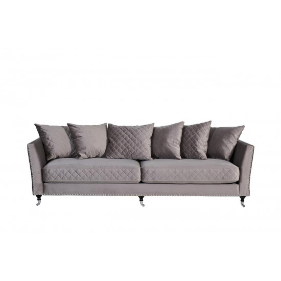 Велюровый трёхместный раскладной диван Sorrento Крем-брюле 230*101*86см Bel42 в интернет-магазине ROSESTAR фото