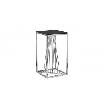 Высокий металлический журнальный столик чёрное стекло/серебро 38*38*70 13RXET8082L-SILVER