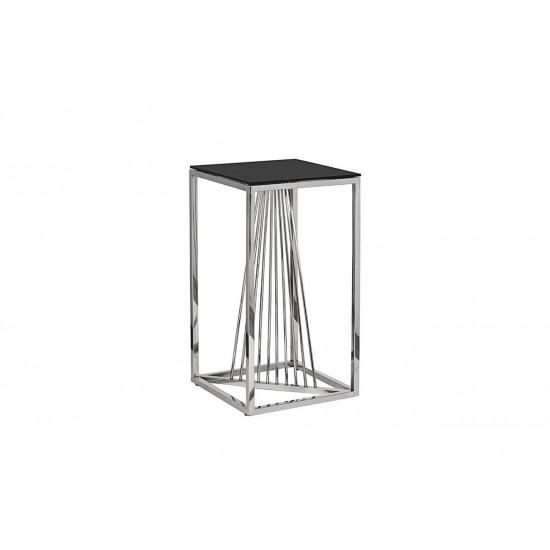 Высокий металлический журнальный столик чёрное стекло/серебро 38*38*70 13RXET8082L-SILVER в интернет-магазине ROSESTAR фото