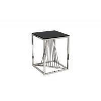 Металлический журнальный столик чёрное стекло/серебро 38*38*50 13RXET8083M-SILVER