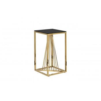 Высокий металлический журнальный столик чёрное стекло/золото 38*38*70см 13RXET8082L-GOLD