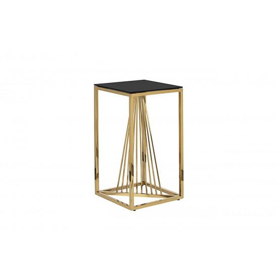 Высокий металлический журнальный столик чёрное стекло/золото 38*38*70см 13RXET8082L-GOLD  в интернет-магазине ROSESTAR фото
