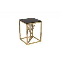 Металлический журнальный столик чёрное стекло/золото 38*38*50см 13RXET8083M-GOLD