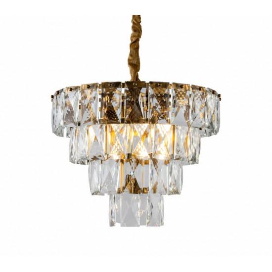 Стеклянная потолочная люстра с кристаллами Латунь K2KG1113P-7 в интернет-магазине ROSESTAR фото
