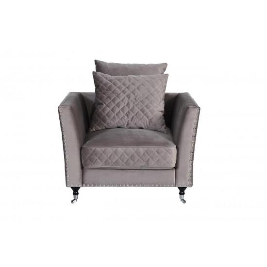 Велюровое кресло серое мягкое Sorrento 98*101*88см арт. Н-Йорк112 в интернет-магазине ROSESTAR фото