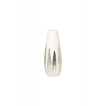 Керамическая ваза белая с декором d10,7*28см 18H2840S-19