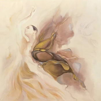 Холст Балерина 100*100см багет бронзовый 89VOR-AQUARELLE9