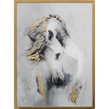 Холст Белая лошадь 50*70см, багет золотой 89VOR-AQUARELLE14