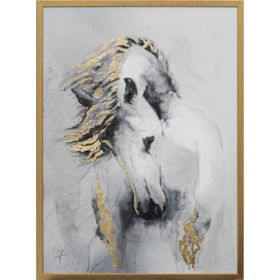 Холст Белая лошадь 50*70см, багет золотой 89VOR-AQUARELLE14 в интернет-магазине ROSESTAR фото