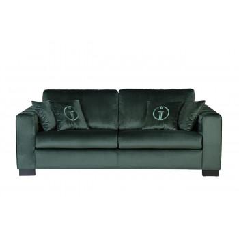 Велюровый трехместный раскладной диван Ralph с подушками Серо-зелёный Bel37