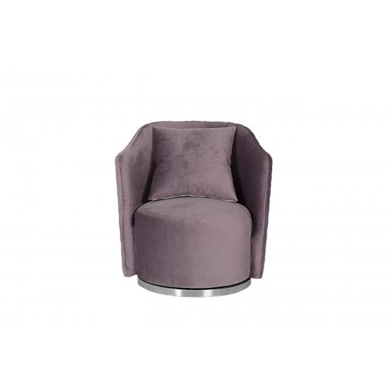 Кресло Verona вращающееся велюровое лиловое/хром VERONA-2K-ЛИЛОВЫЙ-Bel13 в интернет-магазине ROSESTAR фото