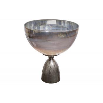 Чаша стеклянная на металлическом основании серебряная 71PN-3177