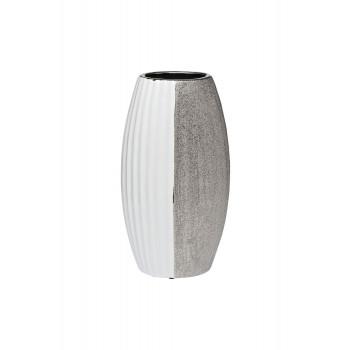 Ваза керамическая белая с серебром 18H2657-20