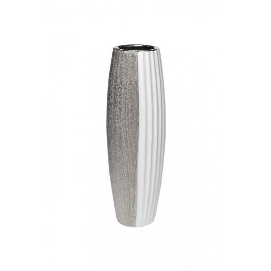 Ваза керамическая белая с серебром 18H2889-20 в интернет-магазине ROSESTAR фото