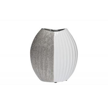 Ваза керамическая белая с серебром 18H2891-20