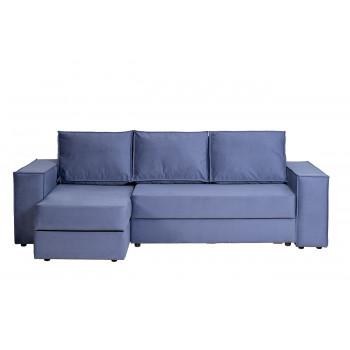 Диван Bergamo трехместный с канапе левый раскладной синий BERGAMO-3ML-1K-СИНИЙ-Vel48