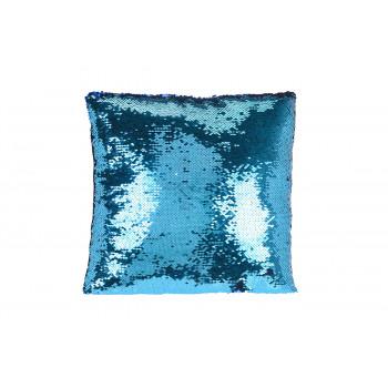 Подушка с пайетками голубая/золото 110903180