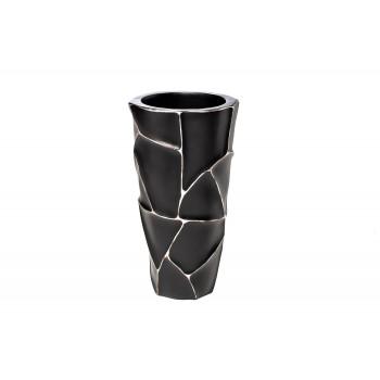 Кашпо черное с серебром ZSC872-19BL