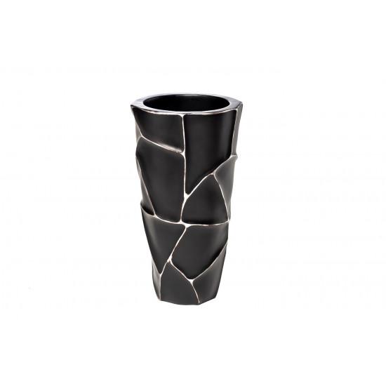 Кашпо черное с серебром ZSC872-19BL в интернет-магазине ROSESTAR фото