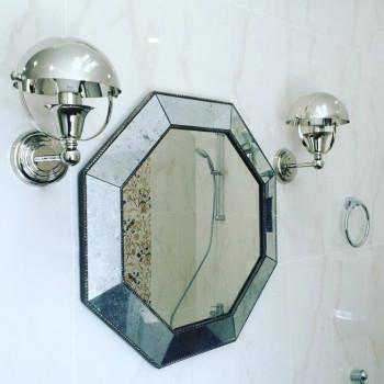 Зеркало восьмиугольное в серебряной раме King