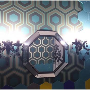 Зеркало восьмиугольное в чёрной зеркальной раме Espresso