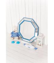 Зеркало восьмиугольное в голубой раме Marine