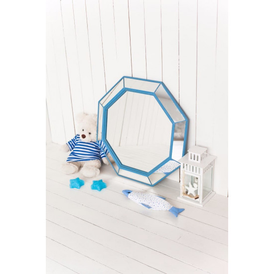 Зеркало восьмиугольное в голубой раме Marine в интернет-магазине ROSESTAR фото