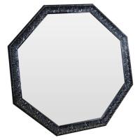 Зеркало восьмиугольное в чёрной раме Frozen lava