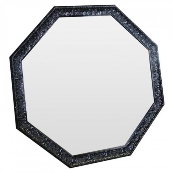 Зеркало восьмиугольное в чёрной раме Frozen lava в интернет-магазине ROSESTAR фото