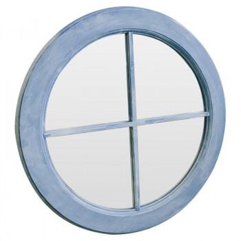 Зеркало окошко круглое в голубой раме Blue sky grande