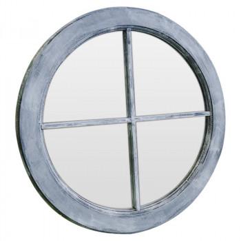 Зеркало окошко круглое в серой раме Black Provence grande