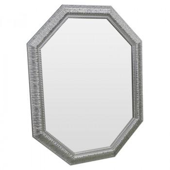 Зеркало восьмиугольное  в серебряной раме Silver Luxury