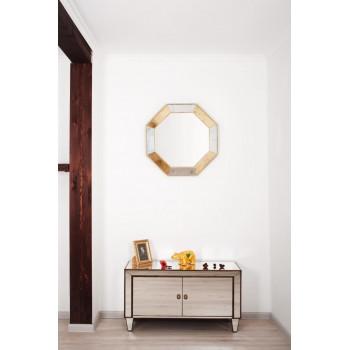 Зеркало восьмиугольное в раме King mix Золото-серебро