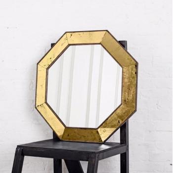 Зеркало восьмиугольное в золотой раме King gold old