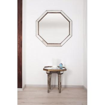 Зеркало восьмиугольное в зеркальной серебряной раме Octagon (Октагон)