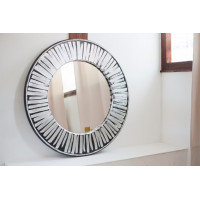 Круглое зеркало в зеркальной раме Philippe Серебро, чёрный